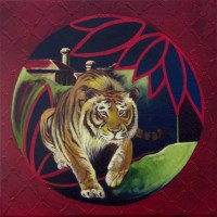 Tigers Come at Night :: (30cmx30cm) Acrylic and oil    on canvas